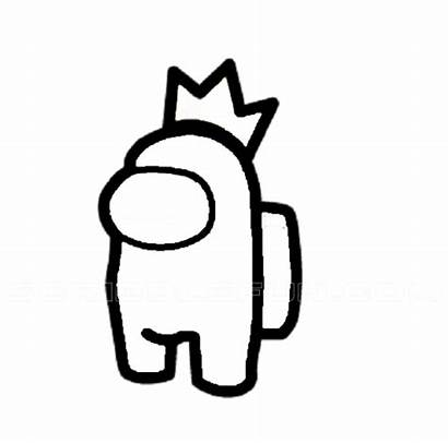 Among Character Crown Coloring Wearing Pages Printable