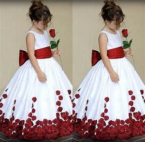White And Red Kids Wedding Dress Sash With Big Bow Jewel ...