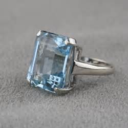 onyx engagement rings pre owned vintage aquamarine ring in 14 karat white gold