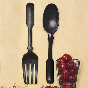 Shelley b decor large black spoon and fork wall art