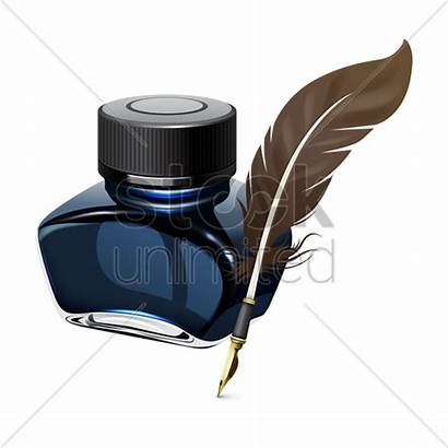 Ink Pen Quill Feather Bottle Vector Fountain