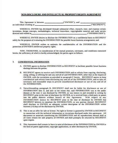 patent agreement forms   ms word