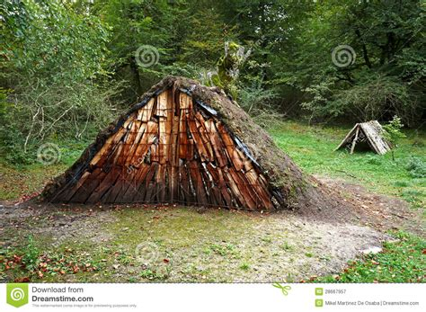 log shelter stock image image  forest wooden shack