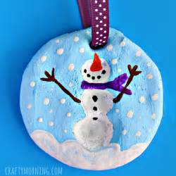 fingerprint snowman salt dough christmas ornament crafty morning