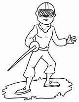 Sword Coloring Fencer sketch template
