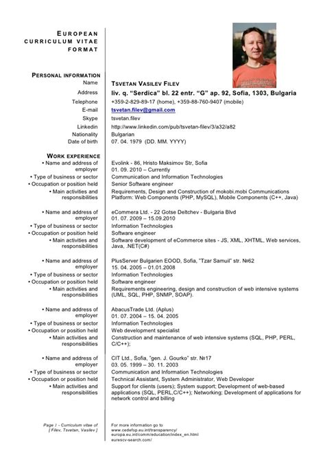 German Resume Template Word by Exemple Cv Europass Cv Anonyme