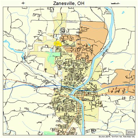 zanesville ohio street map
