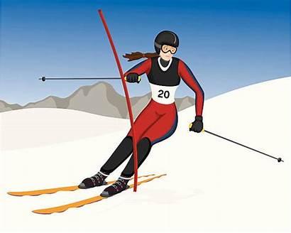 Slalom Skiing Clip Vector Skier Illustrations Female
