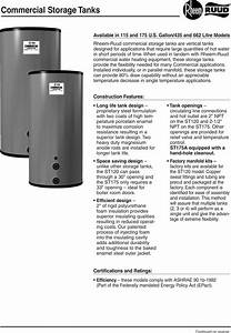 Rheem Commercial Storage Tanks115 175 Gallon Users Manual