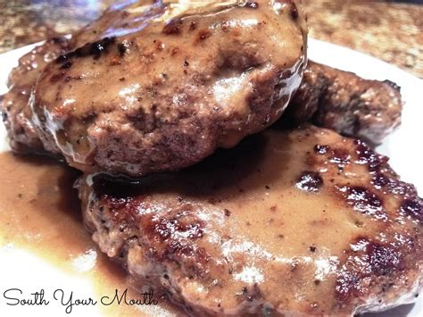 hamburger steak hamburger steak with onions and gravy recipe dishmaps