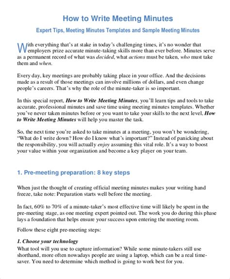 minute taking template 28 minutes writing template free sle exle format free premium templates