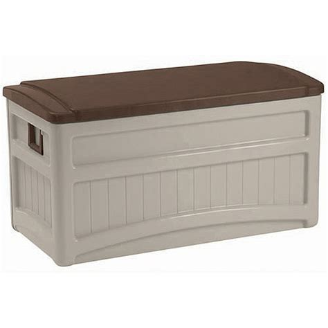 suncast deck box with seat and wheels suncast 73 gallon deck box with wheels walmart