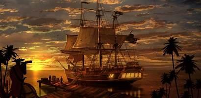 Pirate Ship Cargo Dock Sunset Pier Unloading