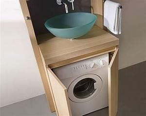 Meuble Pour Machine À Laver : 9 petites salles de bains avec lave linge astuces ~ Dode.kayakingforconservation.com Idées de Décoration