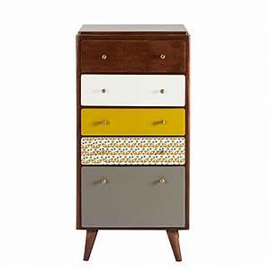 Maison Du Monde Petit Meuble : semainier vintage 5 tiroirs en manguier multicolore ~ Dailycaller-alerts.com Idées de Décoration
