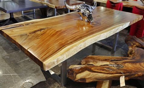 dining table acacia wood slab  edge  form