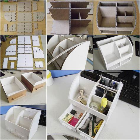 diy desk organizer diy cardboard desktop organizer with drawers home diy