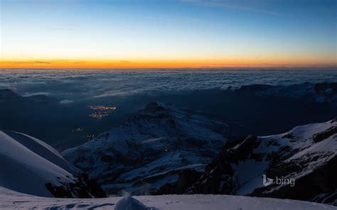 the bernese alps from jungfraujoch railway station in
