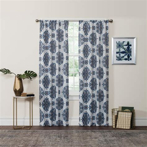 navy and curtains eclipse blackout 84 in l navy rod pocket curtain 3465
