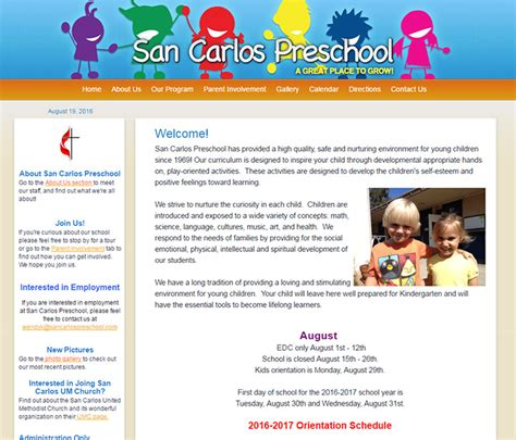 100 preschool amp kindergarten websites for design inspiration 582 | 072 san carlos school