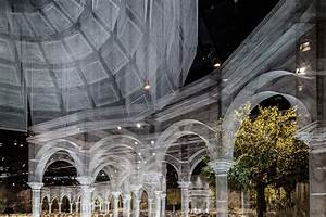An expansive pavilion of architectural elements for Edoardo tresoldi wire pavillion