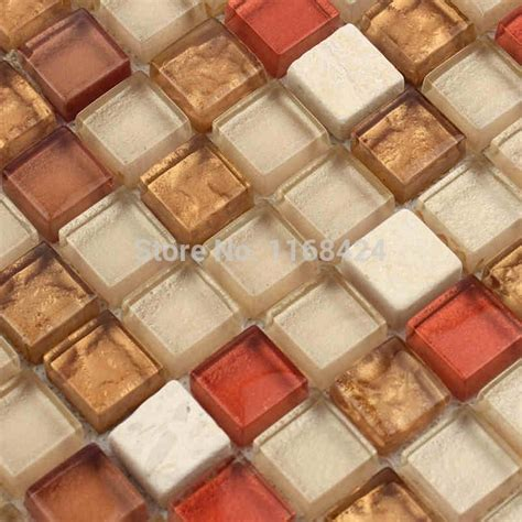 mixed brown color glass mosaic tiles for kitchen