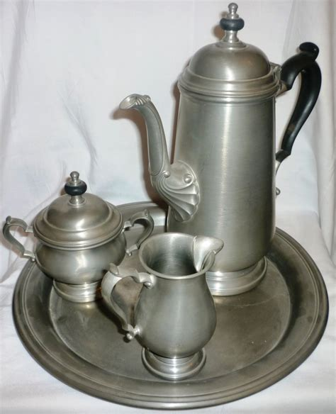 vntg 4 pc 39 s vntg oneida heirloom pewter 4 pc coffee set coffee pot