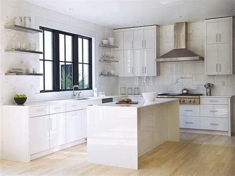 modern kitchen features white lacquered cabinets paired