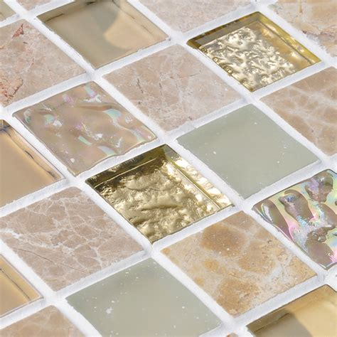 Crystal Glass Mirror Tile Backsplash Stone & Glass Blend