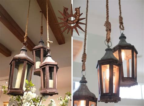 pottery barn lanterns lucky sun ranch lantern and rope chandelier