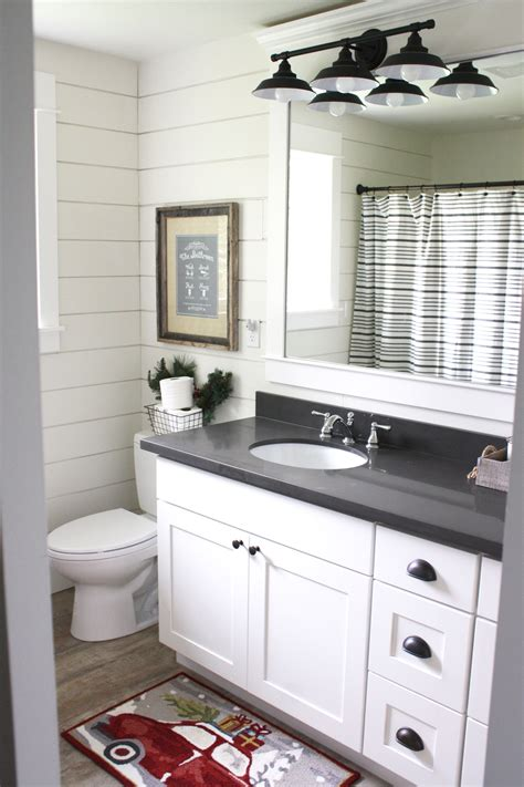 bathroom cabinets and countertops simple farmhouse christmas bathroom using shiplap quartz