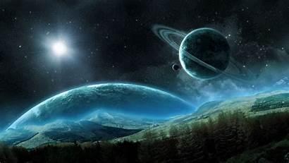 Space Saturn Planet Night Satellite Rings Landscape