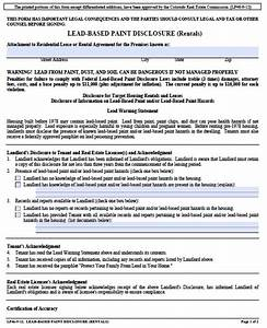 free colorado lead based paint disclosure form pdf template With colorado lease agreement word document
