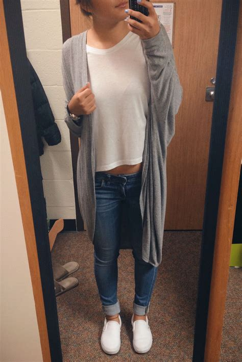 Outfit white t shirt jeans blue white vans slip on shoes long gray cardigan style ideas-very ...