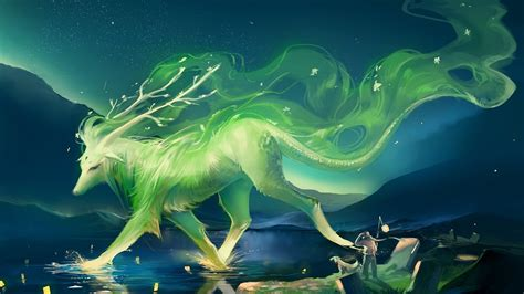 fantasy art green deer wallpapers hd desktop