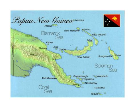detailed map  papua  guinea  flag papua