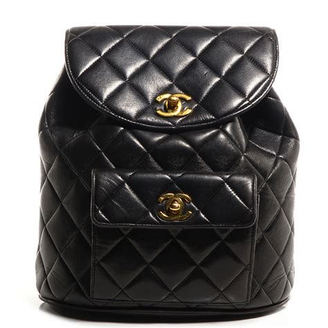 chanel quilted backpack chanel vintage lambskin quilted backpack black 75379