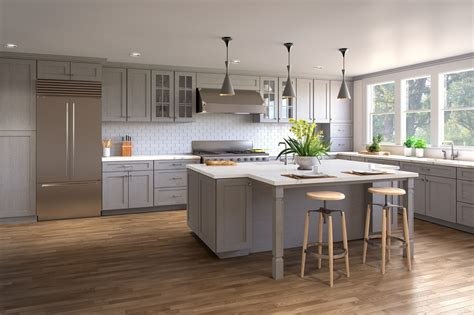 heather grey shaker ready  assemble kitchen cabinets
