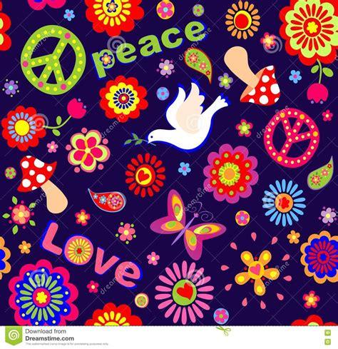 hippie bloemen kinderachtig behang met kleurrijke abstracte bloemen