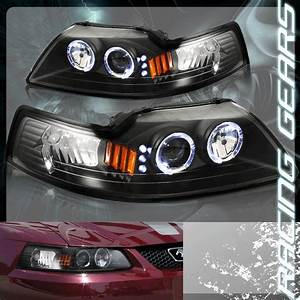 1999-2004 Ford Mustang SVT Cobra GT Halo LED Projector Black Housing Headlights