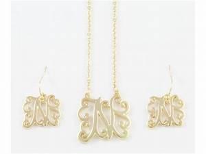gold plate cursive initial chain necklace set With cursive letter necklace gold