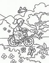 Coloring Bicycle Pages Spring Rides Bike Riding Printables Sheets Wuppsy Colouring Printable Preschool Winter Theme Nature Season Scenery sketch template