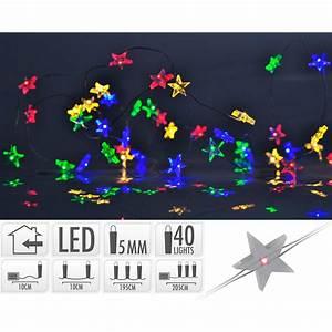 Bunte Led Lichterkette : silberdraht micro lichterkette 40 led bunte sterne drahtlichterke ~ Eleganceandgraceweddings.com Haus und Dekorationen