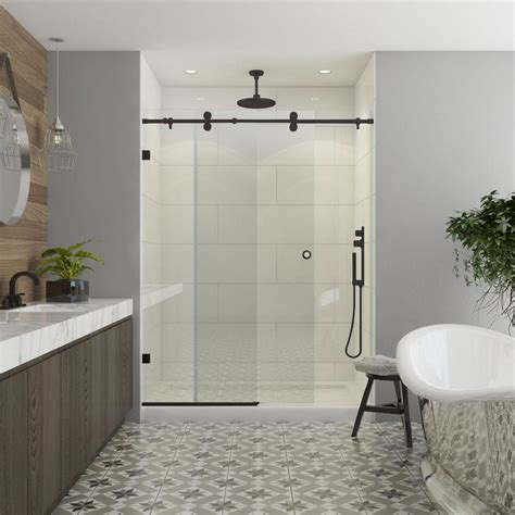kohler shower doors frameless sliding shower door in bronze with bypass
