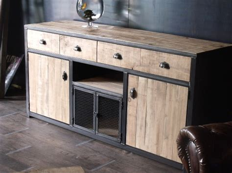 bout de canapé industriel meuble buffet bois acier sur mesure industriel salle à