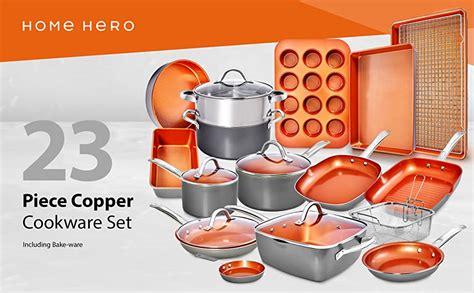 amazoncom home hero copper pots  pans set pc copper cookware set copper pan set ceramic