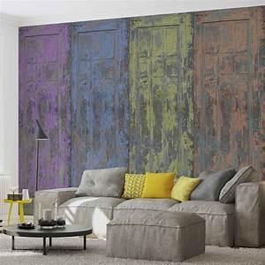 Rustic, Painted, Wood, Doors, Wall, Paper, Mural