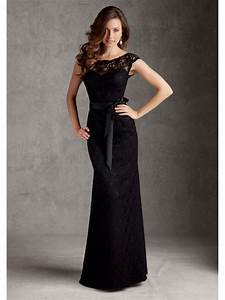 black lace floor length bridesmaid wedding party dresses With black dress wedding party