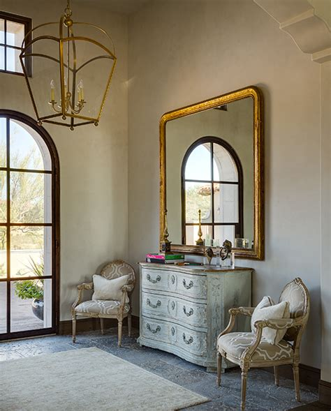 French Foyer With Brass Lantern And Mirror French
