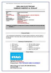 rig electrician resume template cv electrician